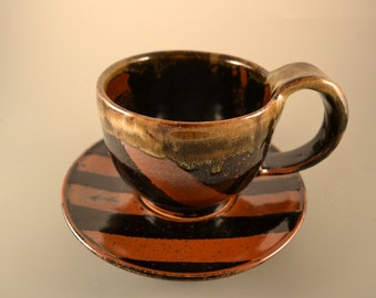 Handmade ceramic / soup bowl/tea cup/ coffee cup/ with black and brown stripes/matching saucer