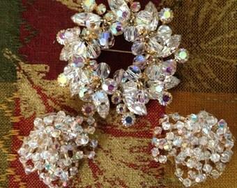 Vintage Exquisite Jewelry Large RHINESTONE Pin BROOCH & EARRINGS