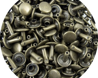 Antique Brass Plated Small Double Capped Rivets - 50 Pack #407-137505