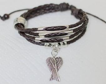 025 Brown leather bracelet Angel wings bracelet Charm bracelet Braided bracelet Men bracelet Women bracelet Jewelry gift For women & men
