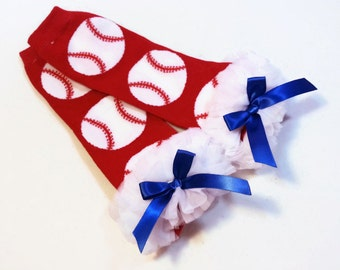 Baseball Leg Warmers with Ruffle and a Blue Bow.
