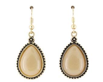Elegant Simple Gold-tone Light Tan Water Drop Dangle Drop Earrings,B17