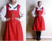 Vintage Embroidered Red Dirndl Dress - Austrian Bavarian German Dress - European Folk Dress - Oktoberfest Dress Trachten (medium large)