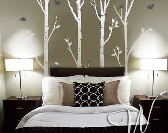 Birch Trees and Birds - Nursery Wall Decal