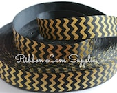 "7/8"" Ribbon by the yard-Black glitter Gold black Chevron print grosgrain ribbon by Ribbon Lane Supplies on Etsy"