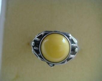 Yellow Cabochon Ring