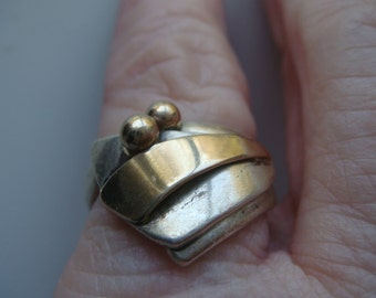 Unique Silver and 14k Gold Ring