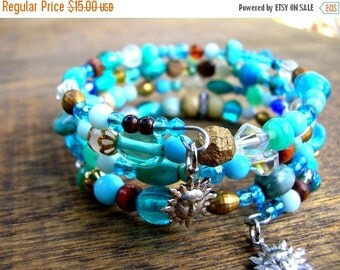 SALE Bohemian Bracelet - Bohemian Blue Bracelet - Boho Bracelet - Turquoise Blue Bracelet - Gypsy Bracelet