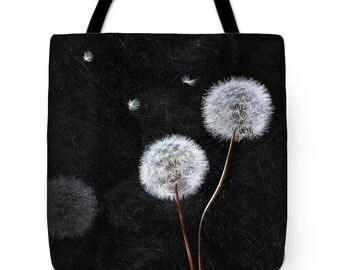Dandelion Printed Tote Bag | Washable Market Tote | Vegan Handbag | Black & White Shopper | Carry-All | Gift For Her