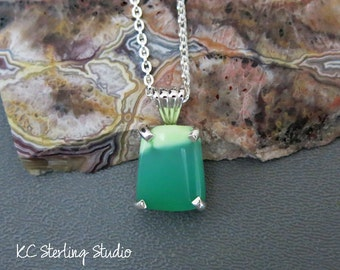 Lime lemon chrysoprase pendant necklace with sterling silver - metalsmith silversmith