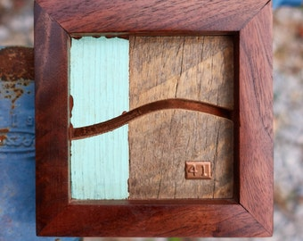 """Reclaimed Wood and Copper MicroArt """"41"""""""