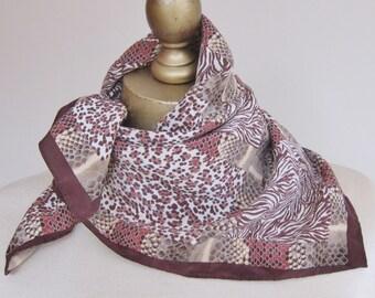 Square SILK scarf, Anne Klein silk square, 80s scarves, animal print scarf, brown silk scarf, vintage scarves, silk neckerchief