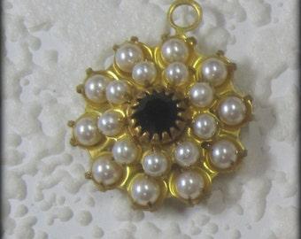 Swarovski Crystal Pearl Jet Layered Rhinestone 23MM 1 Ring Brass Pendant