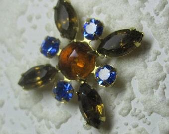 Smoked Topaz Sapphire 35MM Multi Stone Rhinestone Navette Chaton Brass Cross Pendant