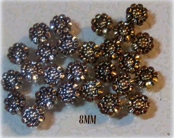 Vintage 8MM Antiqued Silver or Antiqued Gold Floral Flowers Beads