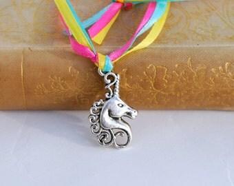 Unicorn Necklace, Unicorn charm, Unicorn Jewelry, unicorn Party, pastel, rainbow, stars, Ribbon, Castle, Fantasy