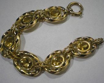 Vintage Sterling Silver Gold Vermeil Citrine Bracelet 7 Inches