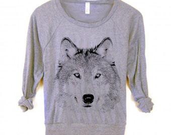 Womens WOLF Animal Dog Husky Boho Screen Print Top Retro Long Sleeve Pullover Raglan Sweater American Alternative Apparel S M L  Sweatshirt
