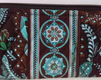 Vera Bradley Paisley Floral Turquoise Brown Bag