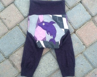 Cloth Diaper Cover, Wool Soaker, Longies, Wool Pants - Purple and Grey Patchwork Scrappy with a Dolphin Applique - Size Large