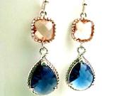 Navy Earrings, Peach Earrings, Sapphire Earrings, Wedding Jewelry Bridal Earrings Dangle drop Earrings Bridesmaid Gift, Christmas Gift