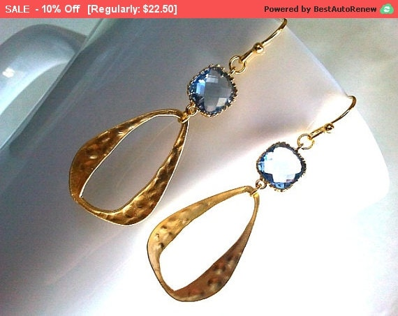 Light Sapphaire blue with Gold Tear Drop earrings, Dangle Earrings, bridal earrings,Wedding jewelry,flower girl,anniversary gift