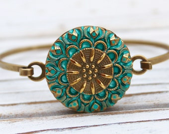 Sage and Gold Lace - Czech glass button bangle bracelet - repurposed jewelry, up-cycled jewelry
