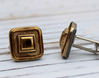 Square in Old Gold - Vintage glass button cufflinks, repurposed cufflinks groom wedding dad groomsmen