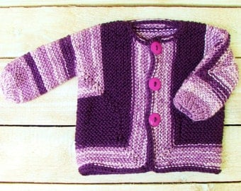 Baby Girl Sweater - Purple Hand Knit Baby Surprise Jacket Style Infant Cardigan - Girls Size 6 Months to 9 Months