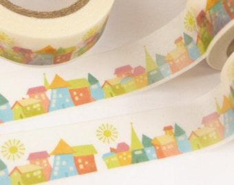 City, Houses, and Sun Washi Tape - OO2052