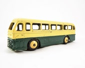 Vintage Dinky Toy, Duple Roadmaster Coach Model No. 282 Diecast, Leyland Royal Tiger Bus, VG Condition, Green Body, Cream Roof, Yellow Hubs