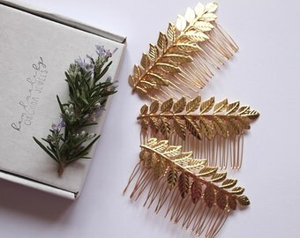 Bridesmaid Gift Sets - Maia Gold Laurel Leaf hair combs