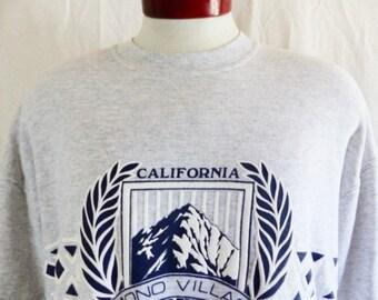 vintage 90's Mono Village California heather grey fleece graphic sweatshirt navy blue white crest mountain puffy print back front logo XL