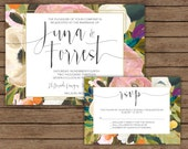 Floral Wedding Invitation with RSVP