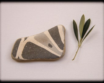 Large Sea Beach Pottery, Mosaic Craft,Cement Concrete Floor Tile Shard,Terazzo Shard,Geometric Pattern,Gray/White Beach Pottery,Paper Weight