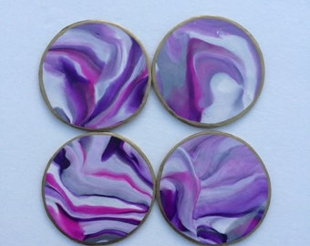 Handmade Clay Purple Marbled Coasters-Set of 4