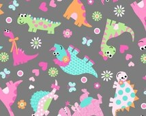 Popular items for dinosaur fabric on etsy for Girly dinosaur fabric