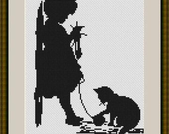 Girl with Cat Silhouette Cross Stitch Kit - Luca S - 13.5cm x 18.5cm
