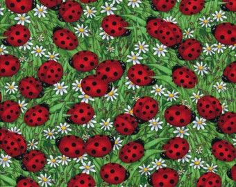 Fat Quarter Ladybird Ladybug Daisy Meadow 100% Cotton Quilting Fabric C1175
