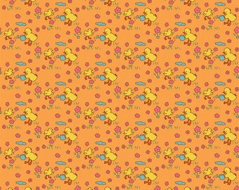 Fat Quarter Toy Chest Chicks on Orange 100% Cotton Quilting Fabric Penny Rose