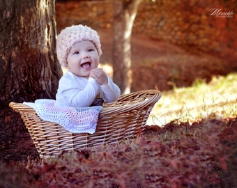 Crochet Hat, Crochet Beanie Baby Girl Crochet  Photo prop