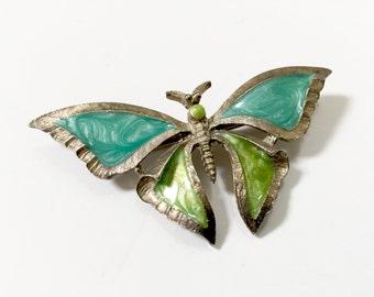 Vintage ENAMEL BUTTERLFLY PIN - Aqua Green Butterfly Brooch - Metal