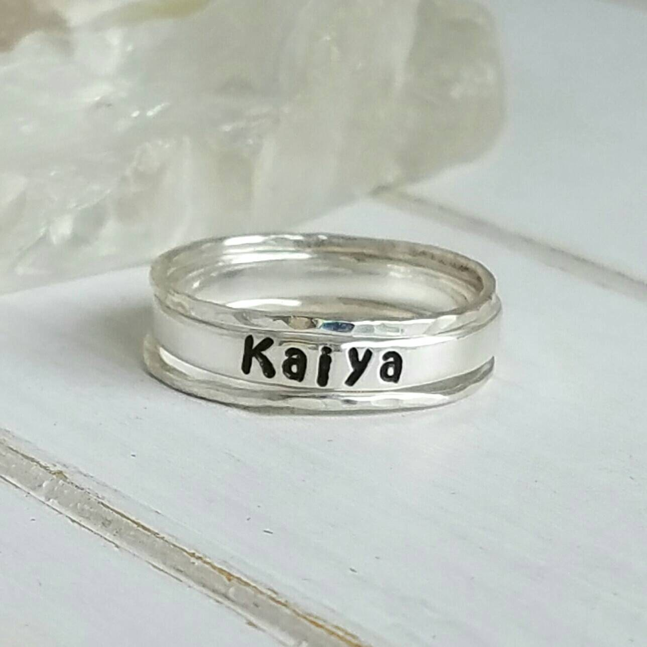 set of 3 sterling silver stackable name rings personalized. Black Bedroom Furniture Sets. Home Design Ideas