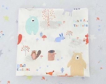 Kid's Cotton Fabric, Cartoon Animal Cotton, Pastel Bear Fox Squirrel In Forest Plaid Stars- 1/2 Yard