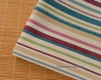 Red Green Stripe Cotton Linen Fabric BOHO Bohemian National Style Clothing Cushion Fabric- 1/2 Yard