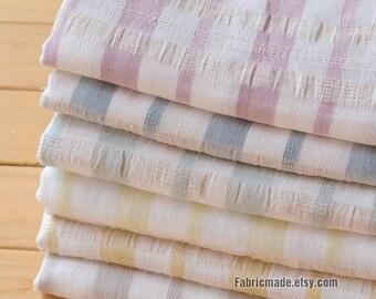 Cotton Linen Fabric, Pastel Stripes Fabric, Light Yellow Beige Pink Purple Stripes Summeer Fabric- 1/2 Yard
