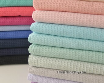 WAFFLE Cotton Fabric, Waffle Weave Fabric, Waffle Check Fabric 11 colors available-  1/2 yard