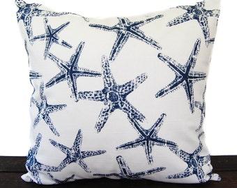 Navy Blue pillow cover One cushion cover in Premier Navy Slub on white throw pillow ocean beach decor sham Starfish