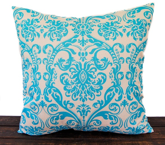 Throw pillow cover One Aqua turquoise and natural Dosset Abigail