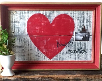 Rustic Clip Frame - Rustic Love Sign - Pallet Wood Sign - 5th Anniversary Gift Rustic Vintage  Decor - Wood Frame